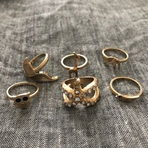 Set of 6 Gold Rings